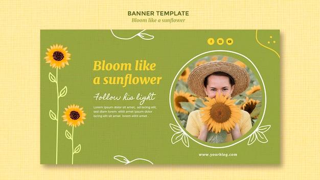 Horizontale fahnenschablone mit sonnenblumen und frau
