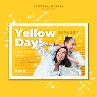 Horizontale plakatschablone des gelben tages