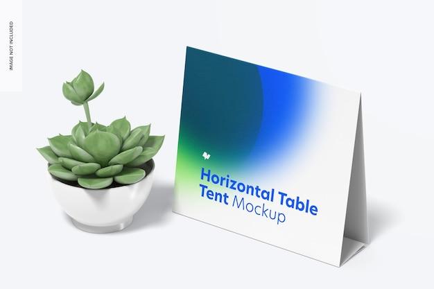 Horizontale tischzeltkarte mit topfpflanzenmodell
