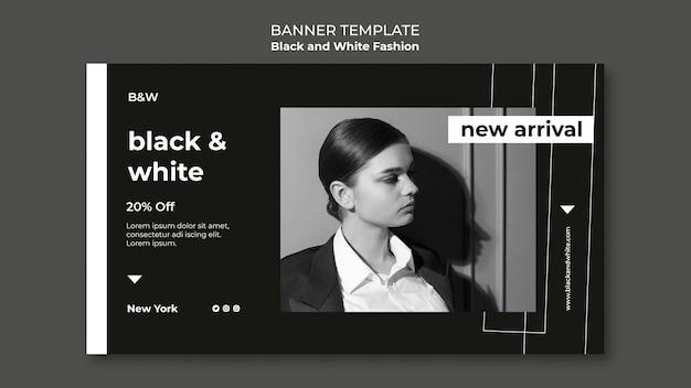 Horizontales banner der schwarz-weiß-mode