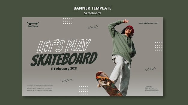 Horizontales banner der skateboard-lektion