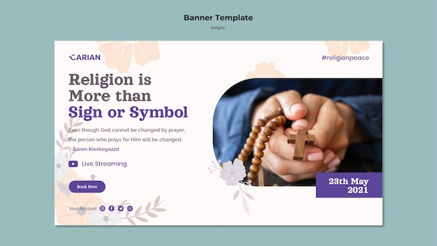 Horizontales banner des religionskonzepts