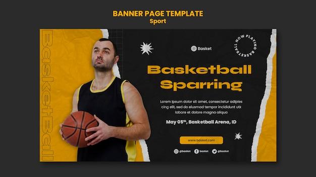 Horizontales banner für basketballspiel mit männlichem spieler