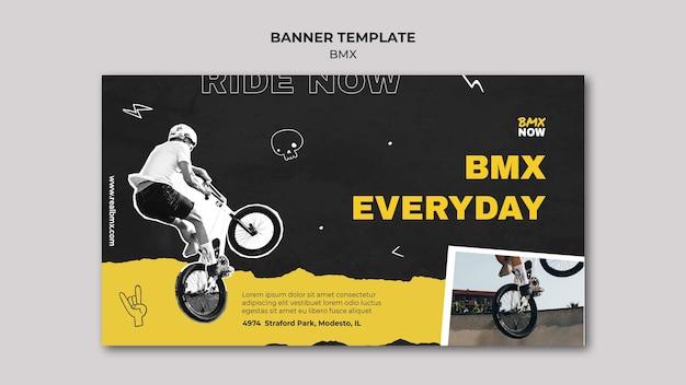 Horizontales banner für bmx-radfahren mit mann und fahrrad