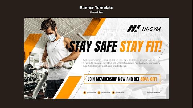 Horizontales banner für das training im fitnessstudio während der pandemie