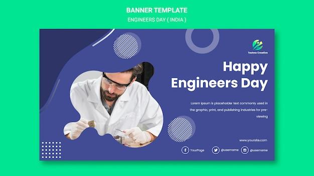Horizontales banner für die feier des ingenieurtages