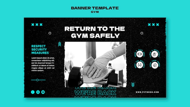 Horizontales banner für die rückkehr zum fitnessstudio