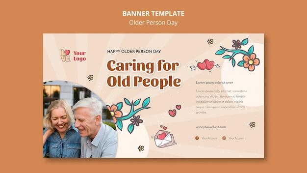 Horizontales banner für die unterstützung und pflege älterer menschen