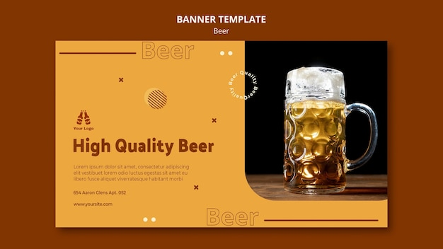 Horizontales banner für frisches bier