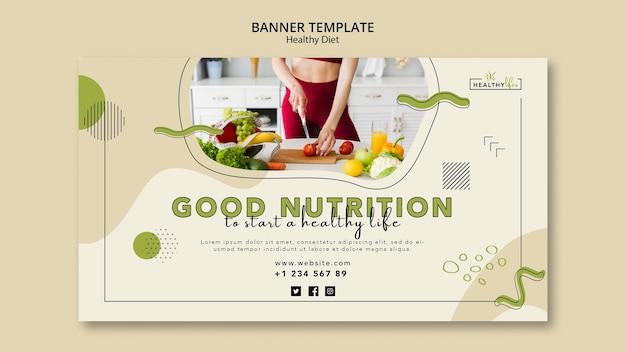 Horizontales banner für gesunde ernährung