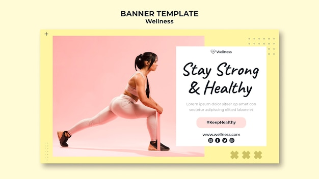 Horizontales banner für gesundheit und wohlbefinden mit frau, die fitness tut
