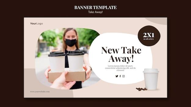Horizontales banner für kaffee zum mitnehmen