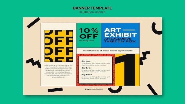 Horizontales banner für kunstausstellung