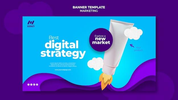 Horizontales banner für marketingunternehmen mit produkt