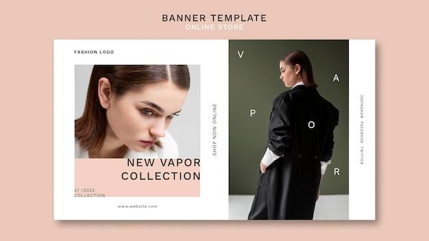 Horizontales banner für minimalistisches online-modegeschäft