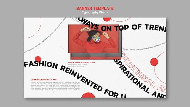 Horizontales banner für modetrends mit frau, die gesichtsmaske trägt