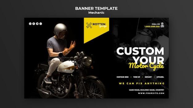 Horizontales banner für motorradreparaturwerkstatt