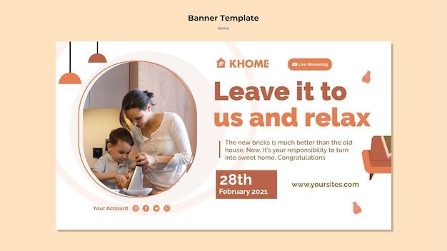 Horizontales banner für neues einfamilienhaus