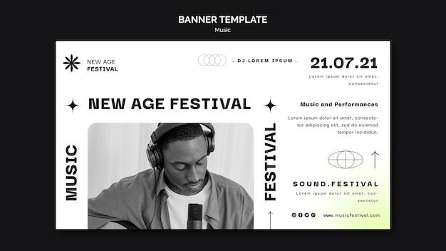 Horizontales banner für new age musikfestival