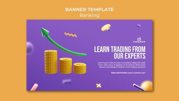 Horizontales banner für online-banking und finanzen