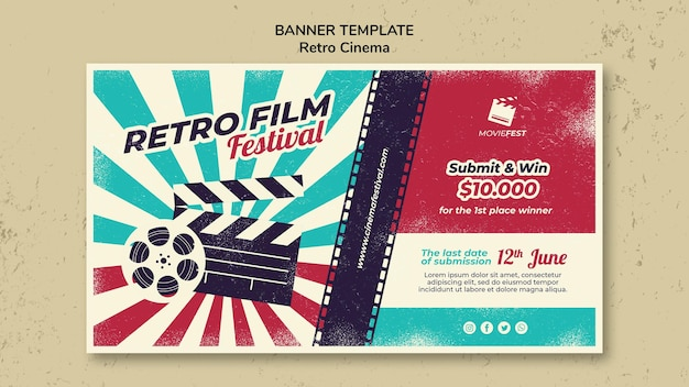 Horizontales banner für retro-kino