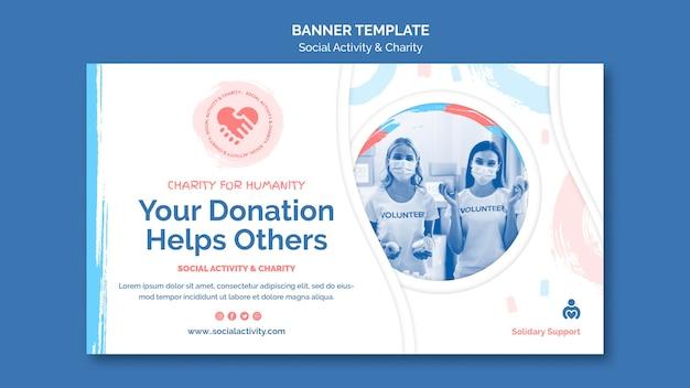 Horizontales banner für soziale aktivität und wohltätigkeit