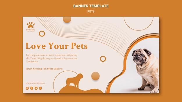 Horizontales banner für tierhandlung mit hund