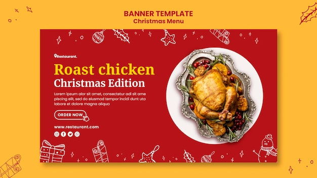 Horizontales banner für weihnachtsessenrestaurant