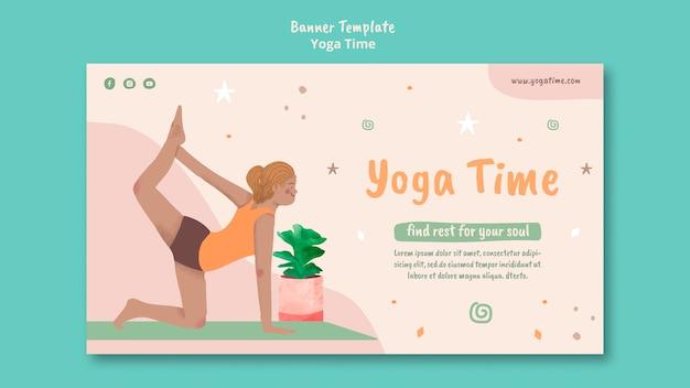 Horizontales banner für yoga-zeit