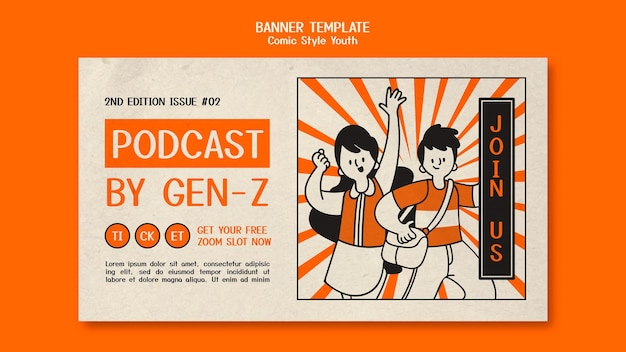 Horizontales banner im comic-stil