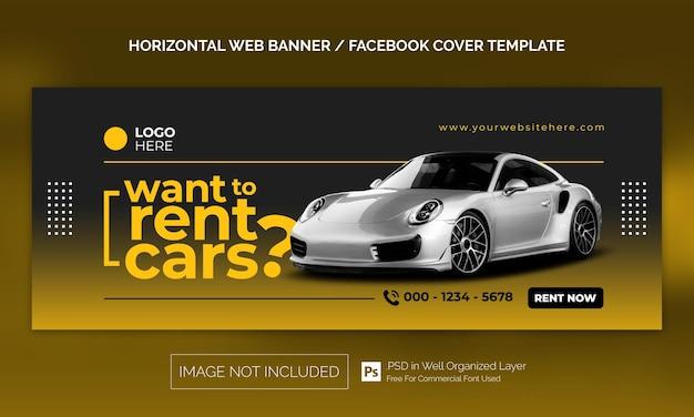 Horizontales banner oder facebook-cover-werbevorlage für den autovermietungsverkauf