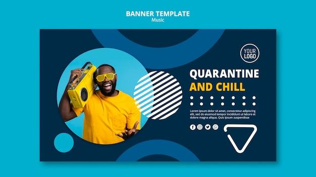 Horizontales banner zum genießen von musik während der quarantäne