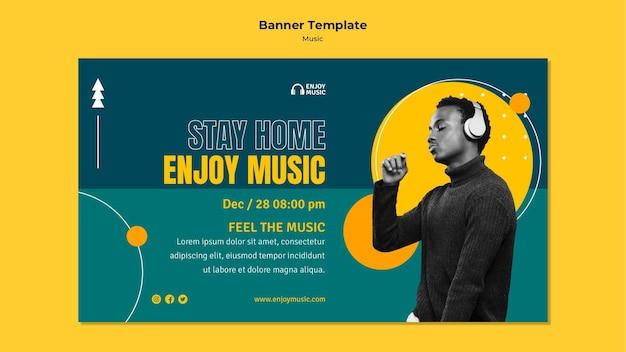 Horizontales banner zum genießen von musik