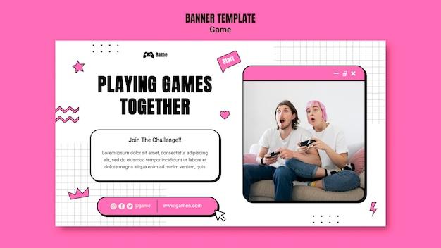 Horizontales banner zum spielen von videospielen Kostenlosen PSD