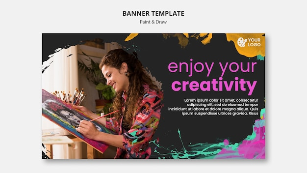 Horizontales banner zum zeichnen und malen von künstlern