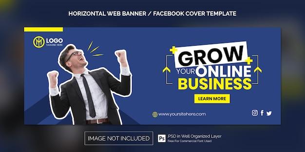Horizontales web-banner für facebook-cover-vorlage oder online-geschäftswerbung