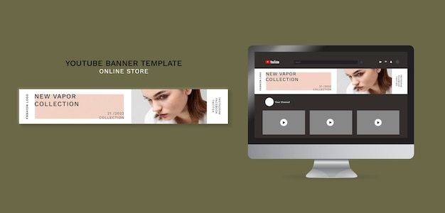 Horizontales youtube-banner für minimalistisches online-modegeschäft