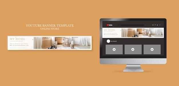 Horizontales youtube-banner für wohnmöbel-onlineshop