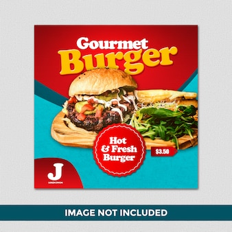 Hot gourmet burger quadratische fahne