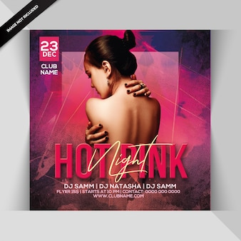 Hot pink night party flyer