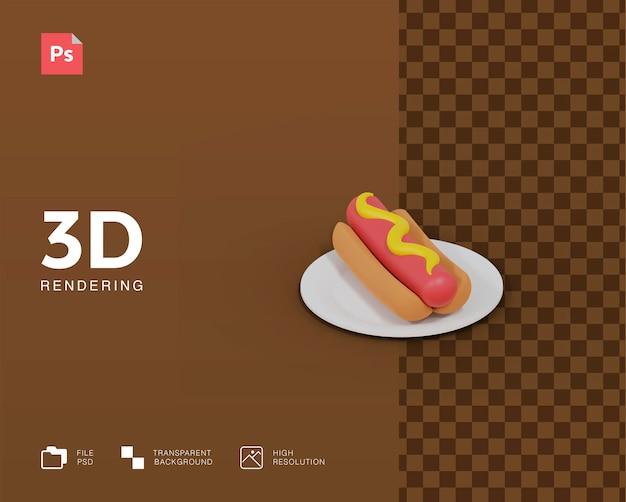 Hotdog der 3d-darstellung
