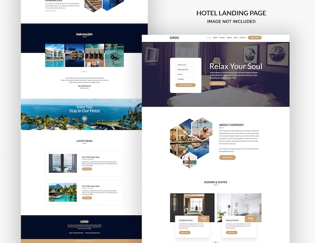 Hotel landing page vorlage Premium PSD