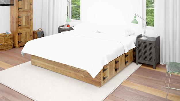 Hotelzimmer oder schlafzimmer mit doppelbett und gemütlichem stil