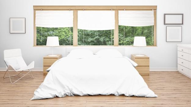 Hotelzimmer oder schlafzimmer mit doppelbett und großen fenstern