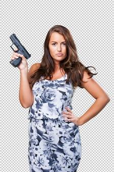 Hübsche mafiafrau, die eine gewehr anhält