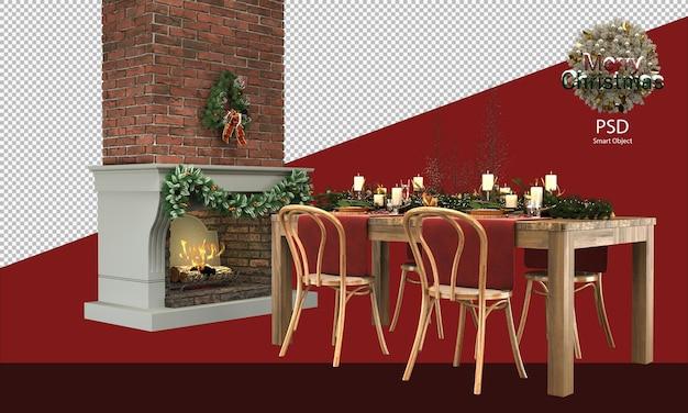 Hübscher weihnachtlicher holztisch und stühle dekorationen holzig und rustikal vor dem kamin
