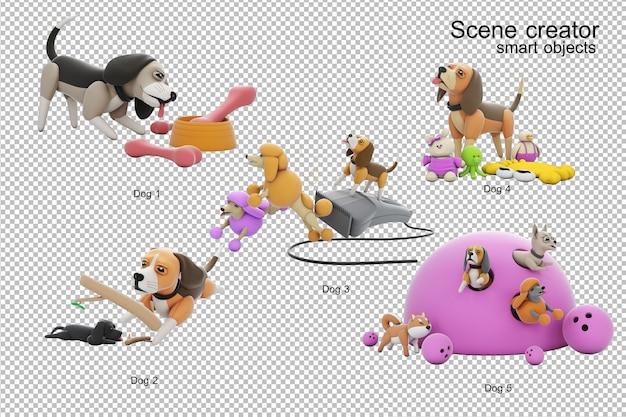 Hundeaktivität 3d illustration isoliert