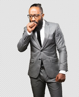 Hustengeste des schwarzen mannes des geschäfts