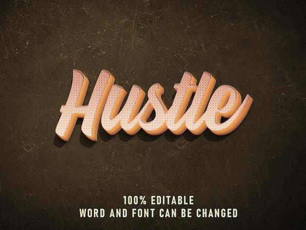 Hustle vintage text style effektfarbe mit grunge style retro