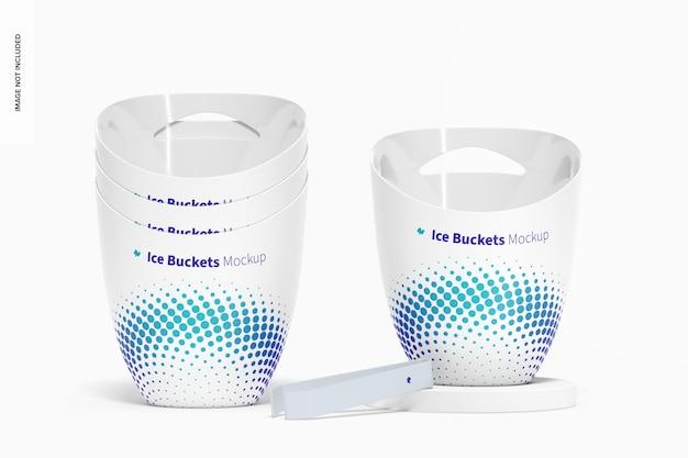 Ice buckets mockup stacked set